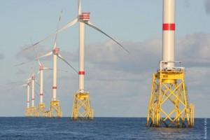 Windkraftanalagen im Windpark Nordsee Ost (Alexander Kuhn)