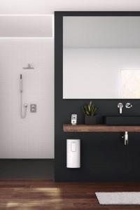 Gute Figur im Badezimmer: Der neue DHE Connect und das als Zubehör erhältliche zusätzliche separate Bedienteil