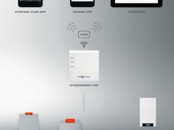 Vitoconnect 100 verbindet neue und einen Großteil bestehender Heizungsanlagen mit dem Internet und ermöglicht so die einfache und komfortable Überwachung und Steuerung per Vitotrol Plus App, ViCare App und Vitoguide