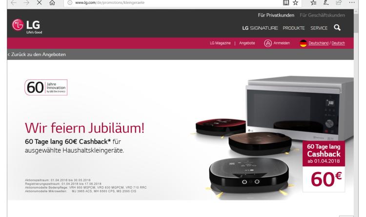 LG Home Appliance startet mit coolen Cashback-Aktionen in den Jubiläumsfrühling