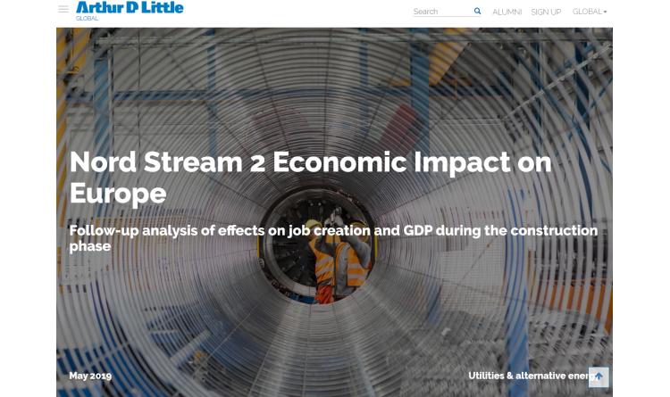 Arthur D. Little: Nord Stream 2 bietet wirtschaftlichen Nutzen, bringt Innovationen hervor und trägt zur Entwicklung der Vertragspartner bei