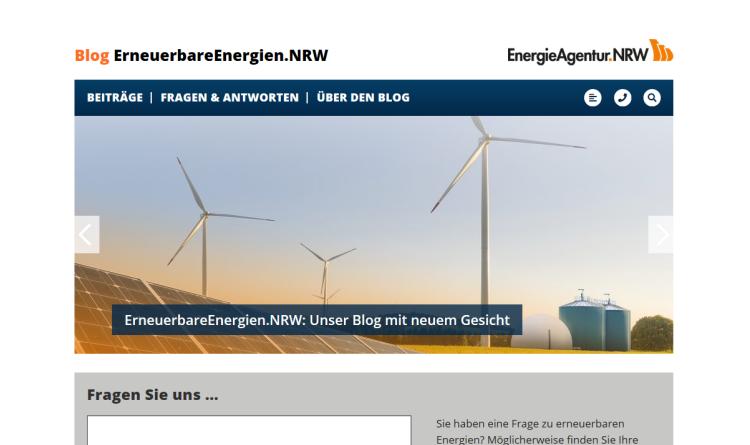 Blog der EnergieAgentur.NRW beantwortet Nutzer-Fragen zu erneuerbaren Energien mit Online-Büro
