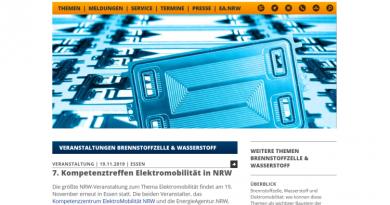 """7. Kompetenztreffen """"Elektromobilität in NRW"""" am 19. November in Essen"""