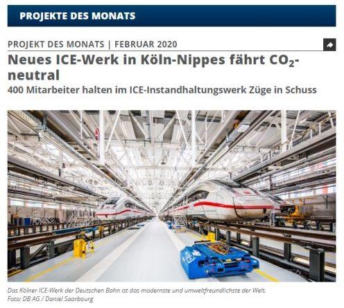 Neues ICE-Werk in Köln spart 1.000 Tonnen CO2 ein