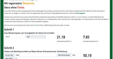 Neuer Online-Rechner zum Berechnen von Öko-Autostrom