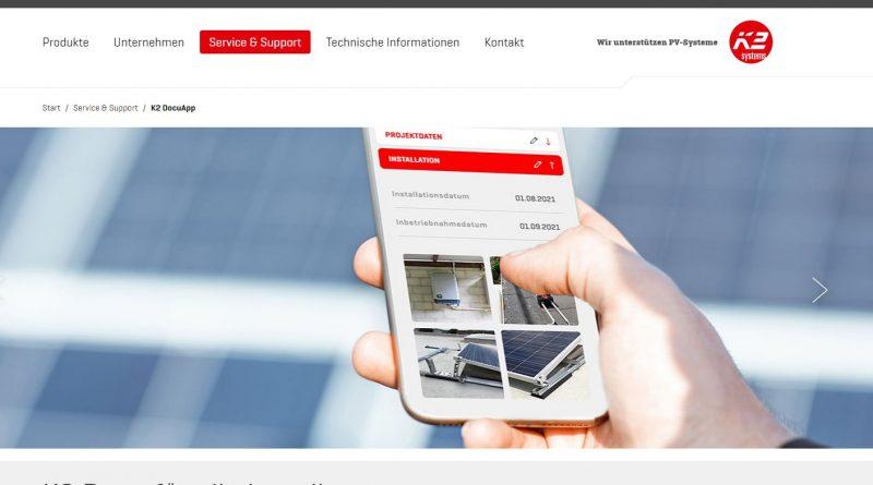 Kostenlose K2 DocuApp zum Dokumentieren von Photovoltaik-Projekten